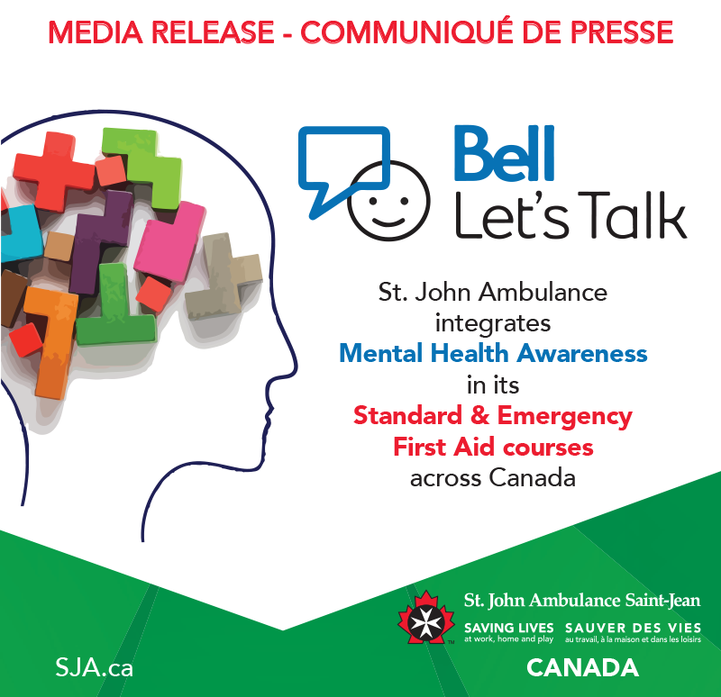 MEDIA RELEASE - St. John Ambulance integrates Mental Health Awareness in its Standard and Emergency First Aid courses