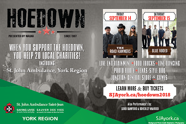 2018 Magna Hoedown with St. John Ambulance Charity Recipient. Performances By Road Hammers, Blue Rodeo, Gord Bamford & Beverley Mahood