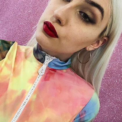 Adriana Hot Couture tie&die turtleneck with Swarovski zip
