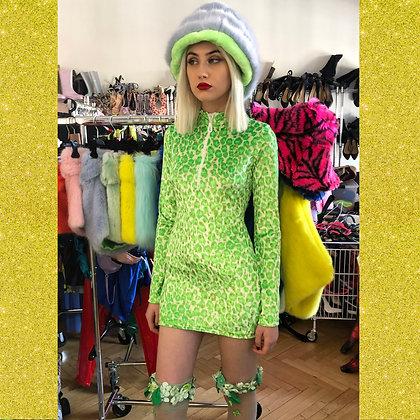 Adriana Hot Couture velvet glitter leopard turtle neck with Swarovski zip