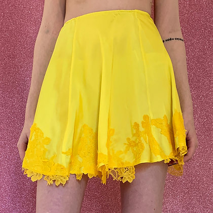 Adriana Hot Couture yellow silk lace skirt