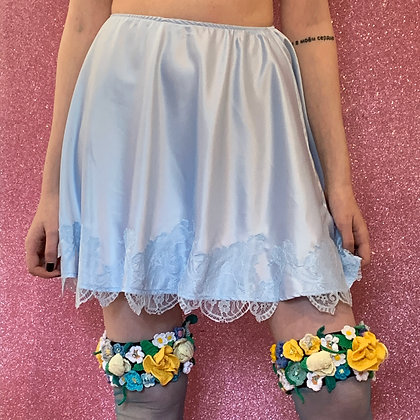 Adriana Hot Couture baby blue silk lace skirt