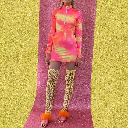 Adriana Hot Couture tie & die turtleneck with Swarovski zip