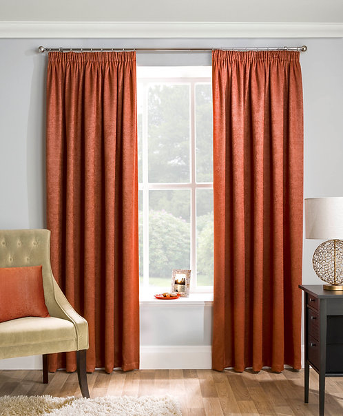 Tyrone Textiles - Enhanced Living - Matrix Orange Ready Made Curtain