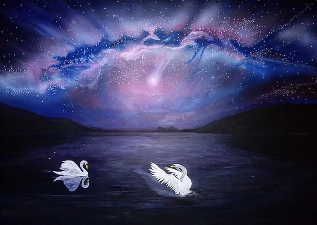 Nights flight. Acrylic_ 30x 40