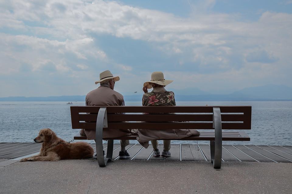 elderly at beach