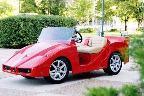 Golf cart that looks like a race car. Interiors for Seniors sees these at retirement centers.