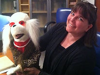 Penny and her dog puppet, Pearl