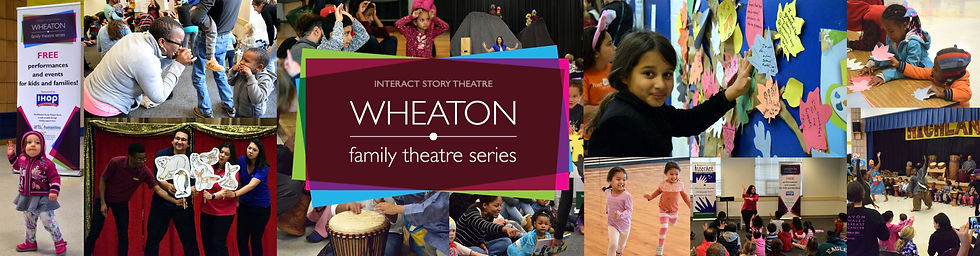 Wheaton Family Theatre Series logo over a collage of many photos showing families and performers participating in series events