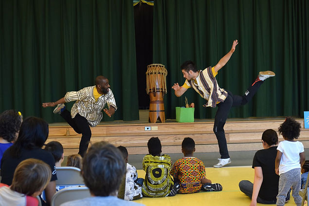 Skher Brown and the Dancing Warriors Ensemble perfroming at Wheaton Family Theatre Festival event