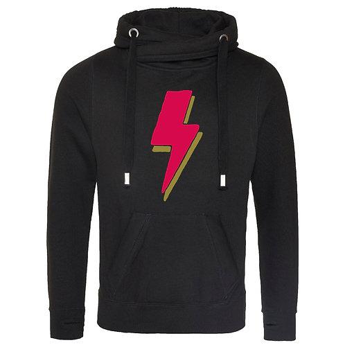 Lightning Bolt Cowl Neck Hoodie Black