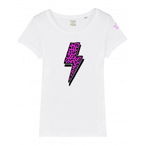 Womens Lightweight Neon Leopard Bolt Tee White