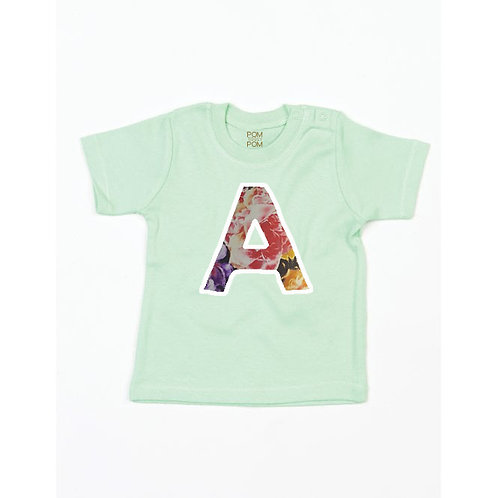 Baby Mint Green Initial Tee