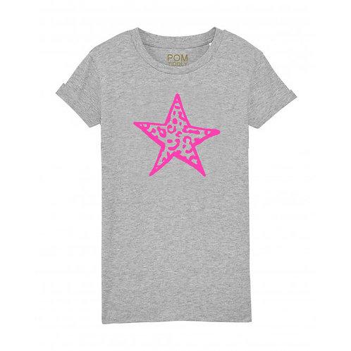 Womens Neon Pink Leopard Star Tee Grey