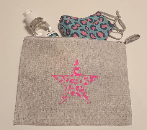 'Leopard Star' Cotton Canvas Pouch