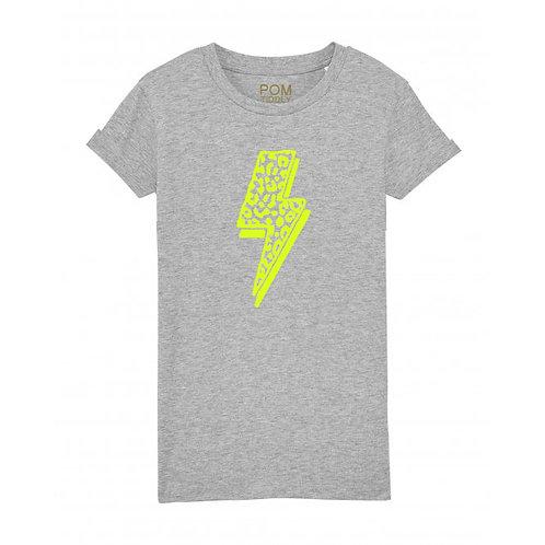 Kids Leopard Lightning Bolt Tee Grey