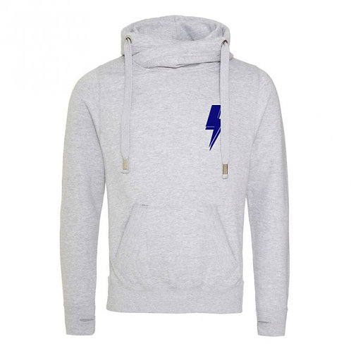 Lightning Bolt (small left chest) Cowl Neck Hoodie Grey