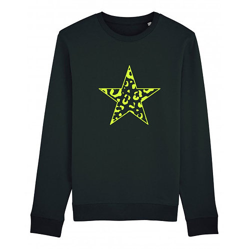 Leopard Star Sweatshirt Black