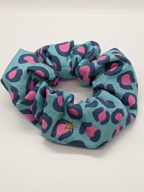 Teal Leopard Hair Scrunchie