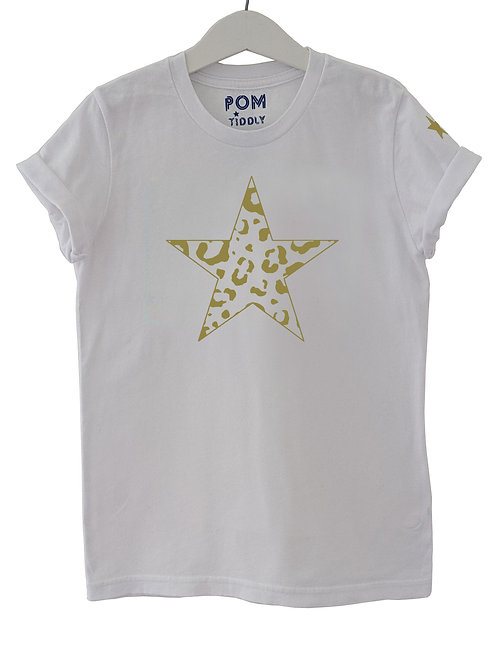 Leopard Star Tee White