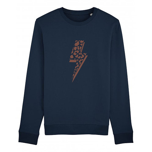 Leopard Bolt Sweatshirt Navy