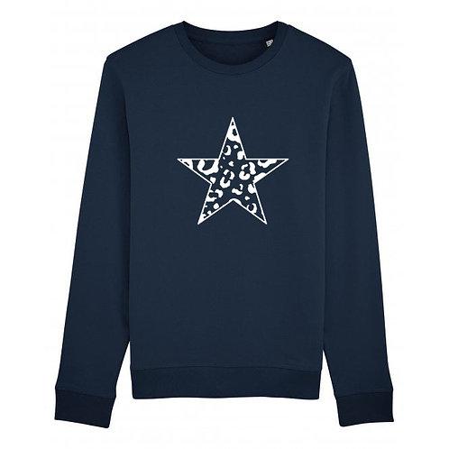 Kids Leopard Star Sweatshirt Navy