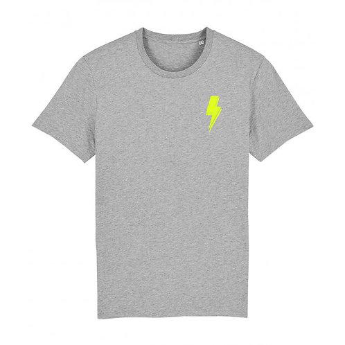 Mens Lightning Bolt Tee (chest decal) Grey