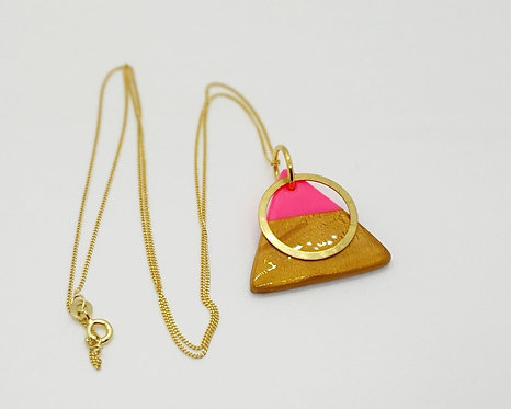 'Rhubarb and Custard' Triangle Pendant Necklace