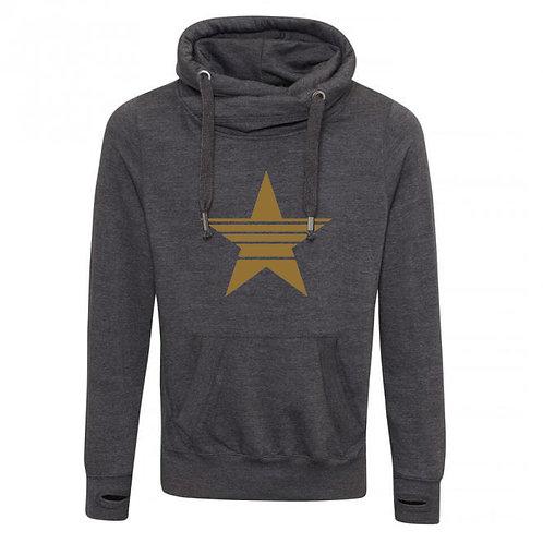 Strikethrough Star Cowl Neck Hoodie Charcoal