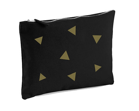 'Triangles' Cotton Canvas Face Mask Pouch