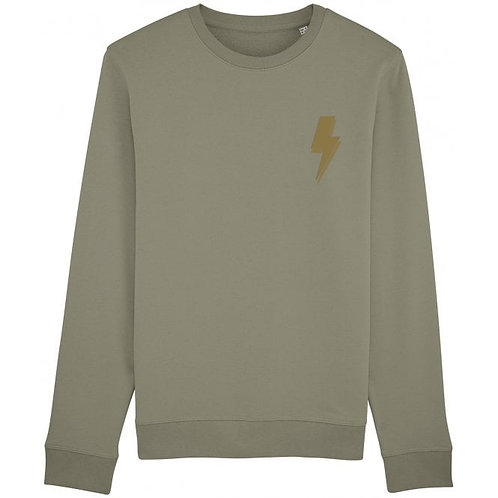 Lightning Bolt Sweatshirt Khaki (small left chest)