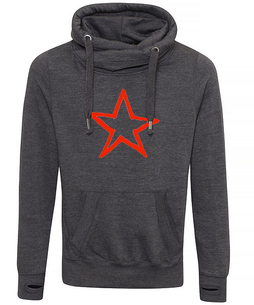 Adult Star Cowl Neck Hoodie Charcoal