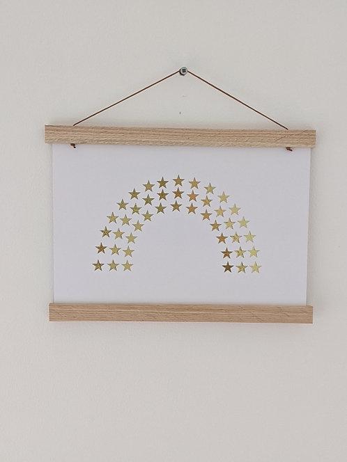 'Star Rainbow' Gold Foil (unframed) A4