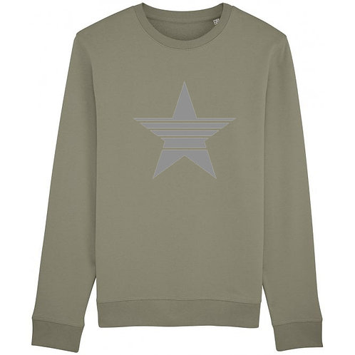 Strikethrough Star Sweatshirt Khaki