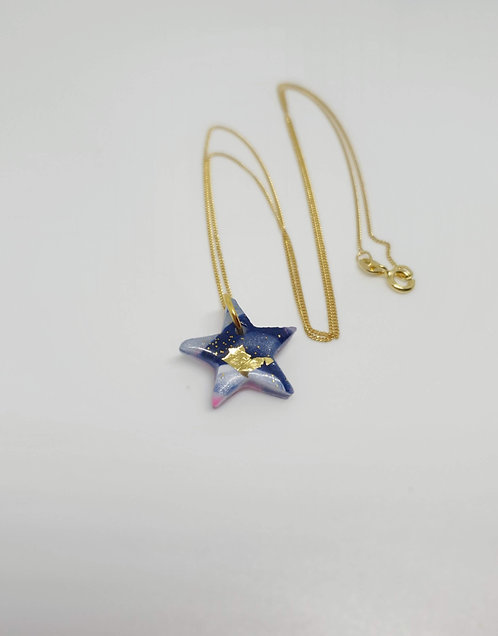 Mini Marble and Gold Star Necklace