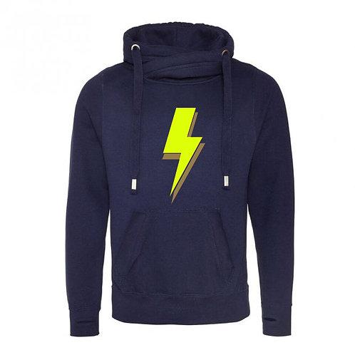 Lightning Bolt Cowl Neck Hoodie Navy