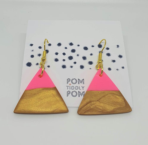 'Rhubard and Custard' Triangle Dangle Earrings