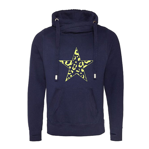 (LIMITED STOCK) Leopard Star Cowl Neck Hoodie