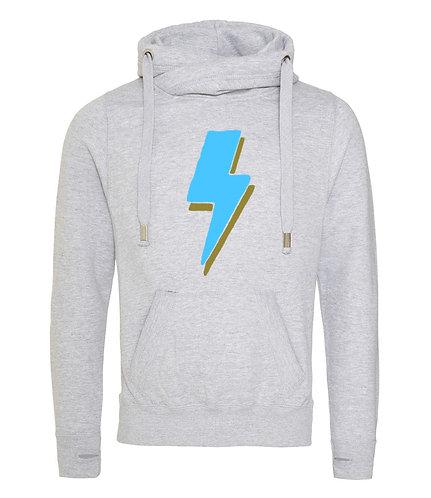Lightning Bolt Cowl Neck Hoodie Grey