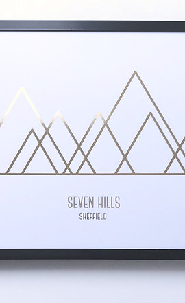 'Seven Hills' Foiled Wall Print (unframed)