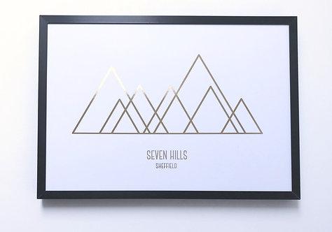 'Seven Hills' Foiled Wall Print (unframed)