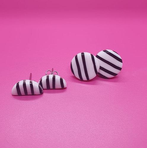Monochrome Stripe studs