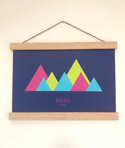 'Seven Hills' Neon Wall Print (unframed)
