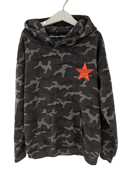 Kids Camo  Strikethrough Star (small left chest) Hoodie
