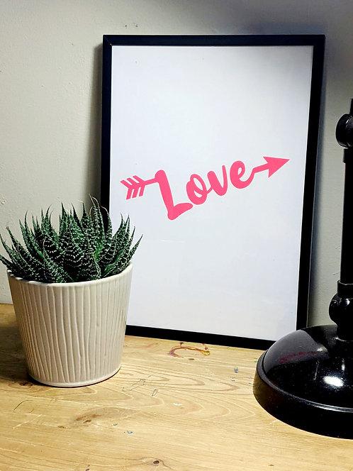 'Love' Neon Vinyl Wall Print (unframed)