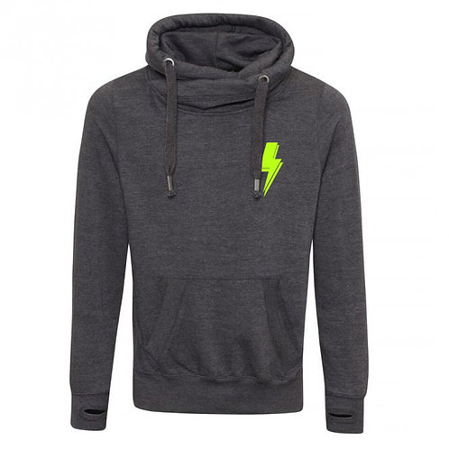 Lightning Bolt (small left chest) Cowl Neck Hoodie Charcoal