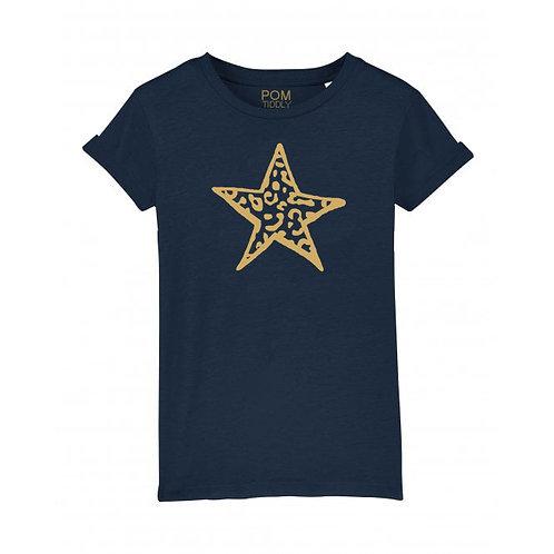 Kids Gold Glitter Leopard Star Tee Navy
