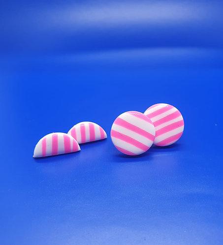 Pink Candy Stripe studs