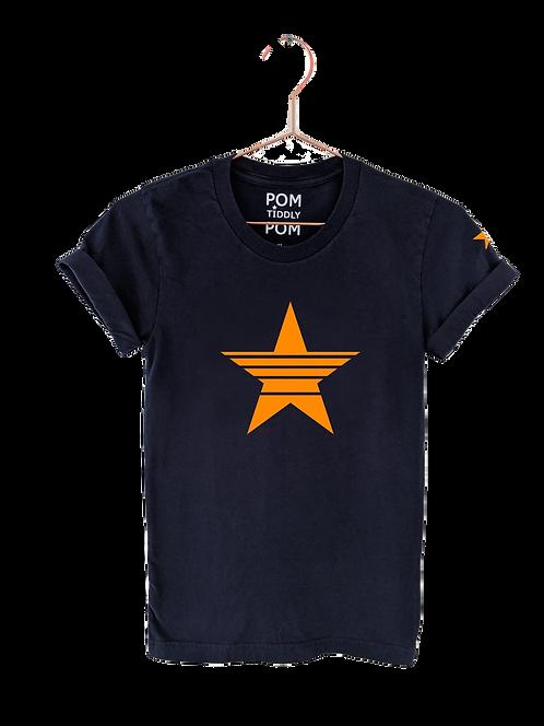 Strikethrough Star Tee Navy
