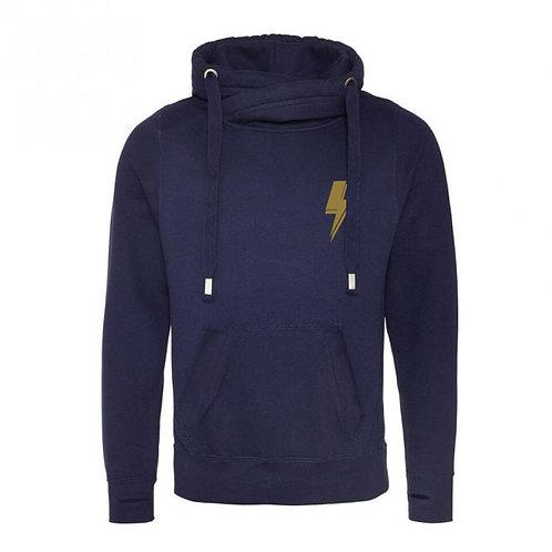 Lightning Bolt (small left chest) Cowl Neck Hoodie Navy